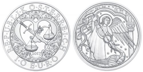 """10-Euro Silbermünzen der Serie """"Engel – Himmlische Boten"""" - Michael"""
