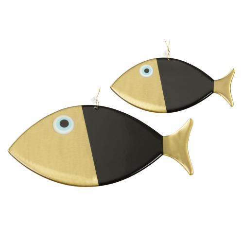 2 Wanddeko-Fische, schwarz.