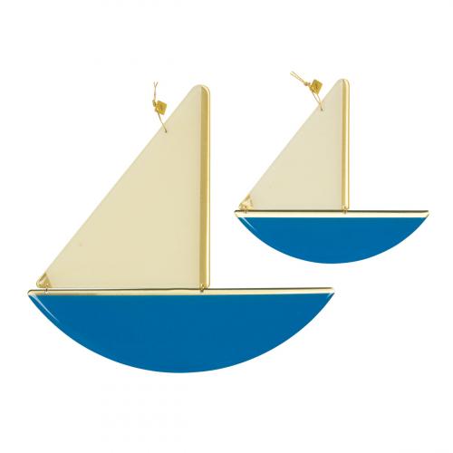 2 Wanddeko-Schiffe, blau.
