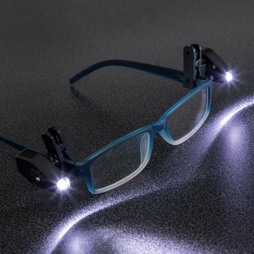 2 LED-Leselichter für die Brille, 360 Grad.