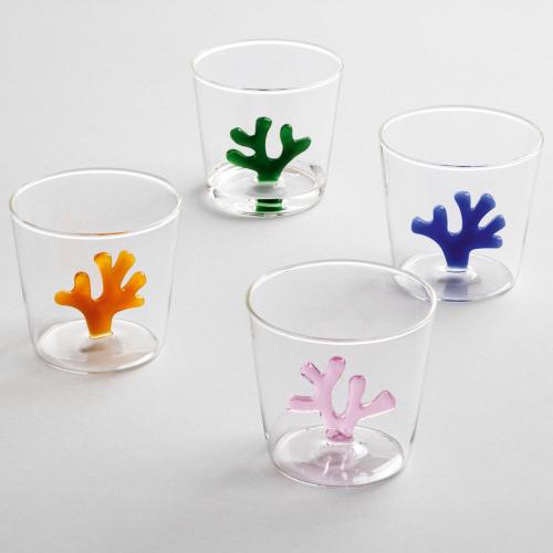 4er-Set Trinkgläser mit Korallen.