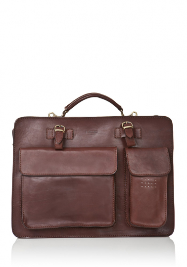 Aktentasche mit Außentaschen, dunkelbraun.