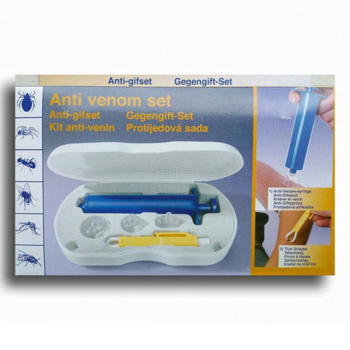 Anti-Gift-Set mit Vakuumpumpe und Zeckenzange.