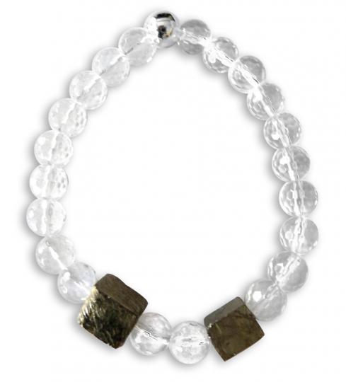 Armband Cube - Bergkristall & Pyrit