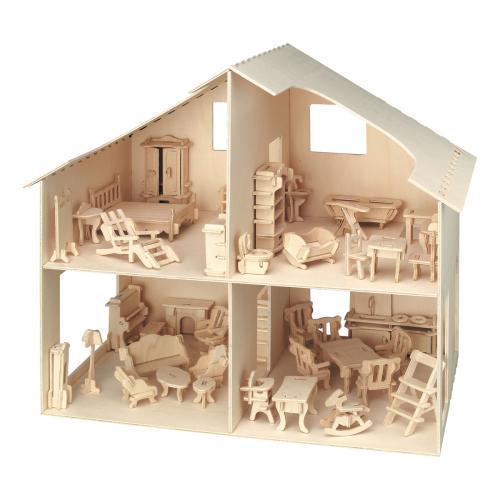 Bausatz Puppenhaus mit Möbeln.