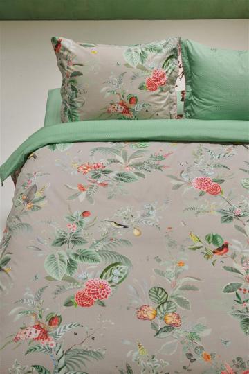 Bettwäsche Blütenmotiv, grau/grün.