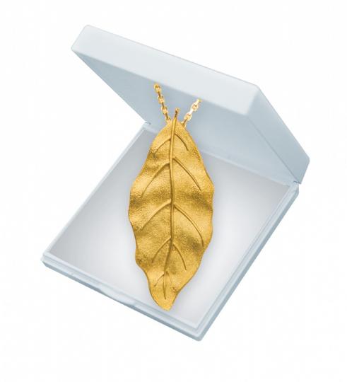 Blatt Anhänger - Silber, vergoldet mit Kette.