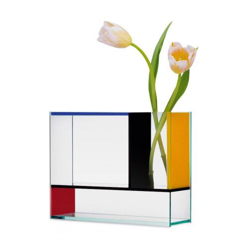 Blau-rot-gelbe Vase »Piet« nach Piet Mondrian.
