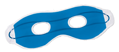 Blaue Augenmaske.