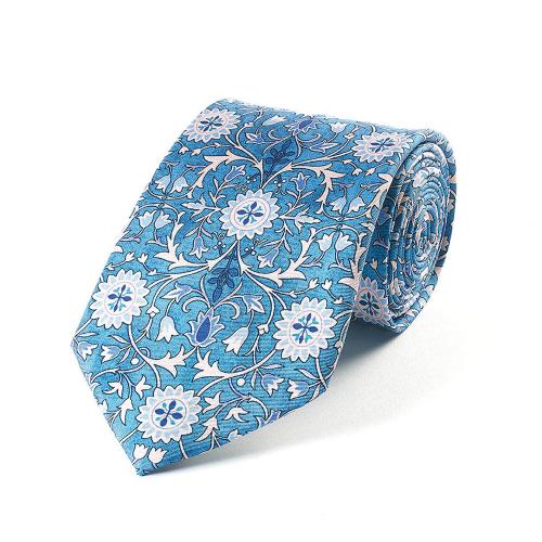 Blaue Seidenkrawatte. William Morris »Hammersmith«.