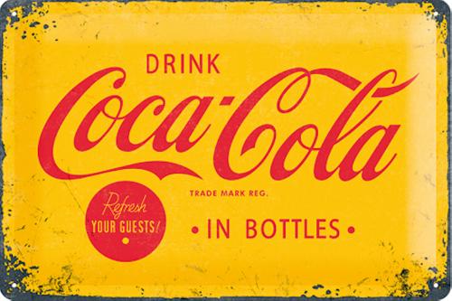 Blechschild Drink Coca-Cola, gelb