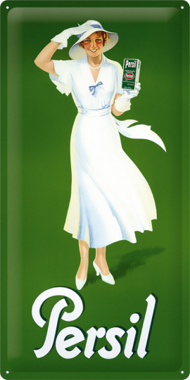 Blechschild Persil Frau in weiß 25x50 cm.