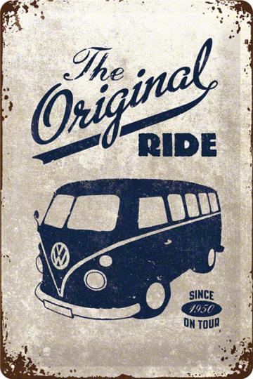 Blechschild »VW Bulli - The Original«.
