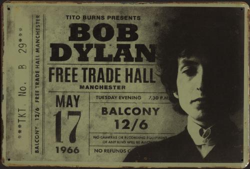 Blechschild »Bob Dylan Concert Ticket«.