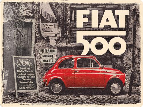 Blechschild »Fiat 500«.