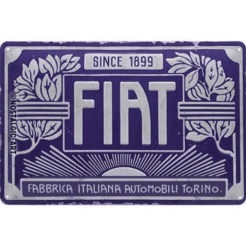 Blechschild »Fiat - Since 1899«.