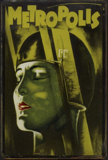 Blechschild »Metropolis«.