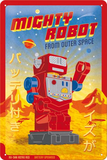 Blechschild »Mighty Robot«.