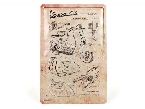 Blechschild »Vespa Parts Sketches«.