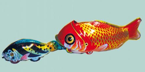 Blechspielzeug Fressender Raubfisch.