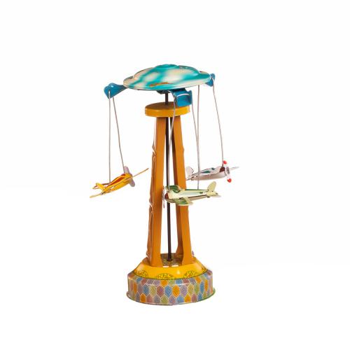 Blechspielzeug Karussell mit Fliegern.
