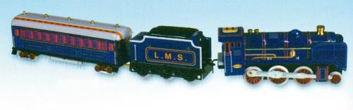 Blechspielzeug Dampflok mit Tender und Abteilwagen.