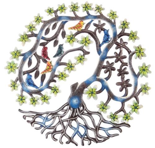 Buntes Ornament aus Haiti »Vögel und Blätter«.