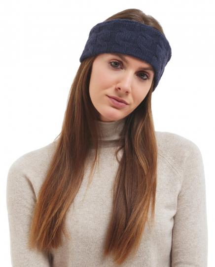 Stirnband mit Kaschmir, dunkelblau.