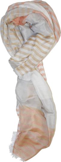 Pastellfarbener Schal mit Streifen.