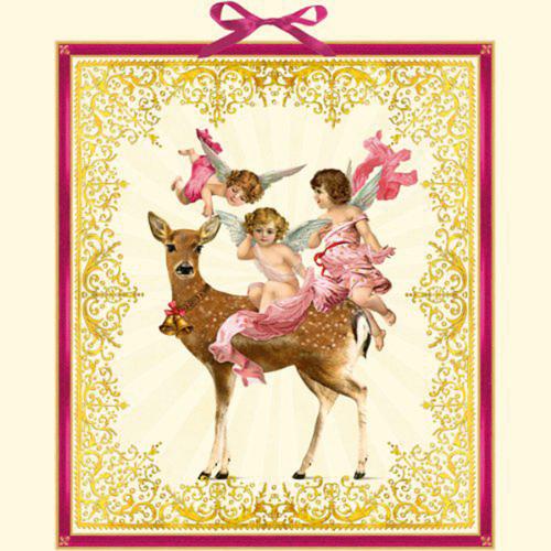 Engeltrio mit Weihnachtsreh. Adventskalender.