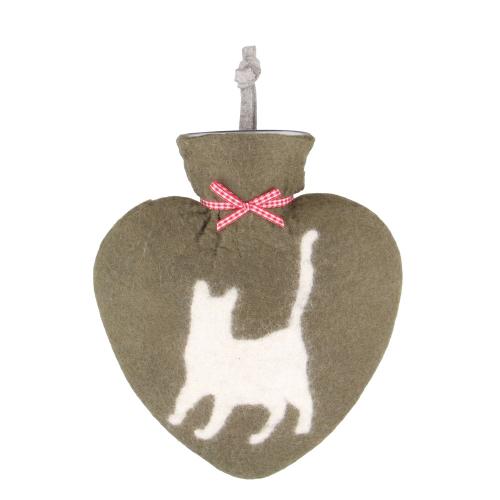 Filz-Wärmflasche mit Katze, laufend.