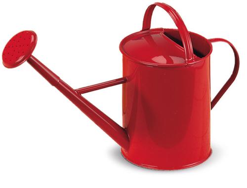 Gießkanne aus Metall für Kinder, rot.