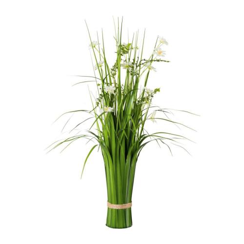 Grasbusch mit Cosmea-Blüten.