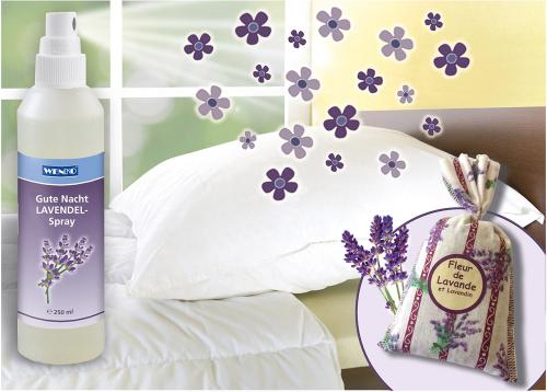 Gute Nacht Lavendel-Spray und -Säckchen.