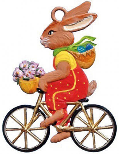 Hase mit Fahrrad.