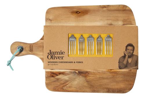 Jamie Oliver Käse-Brett mit Gabeln.
