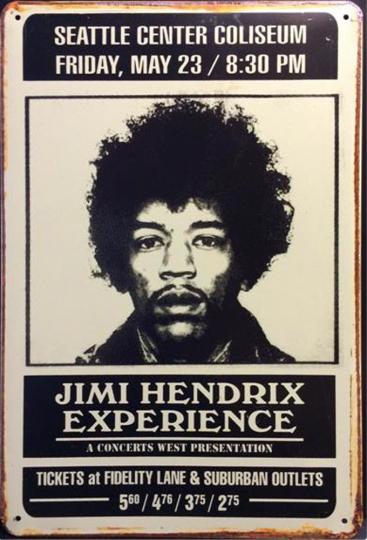 Jimi Hendrix-Blechschild.
