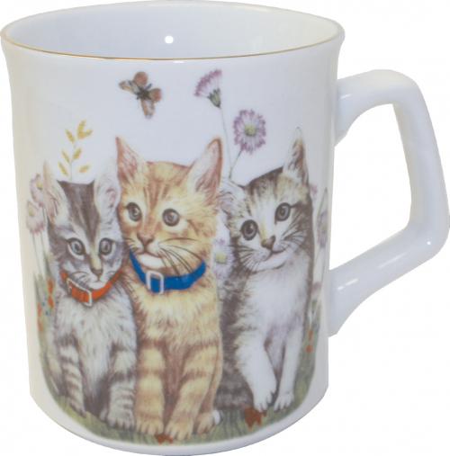 Kaffebecher Kätzchen mit Goldrand.