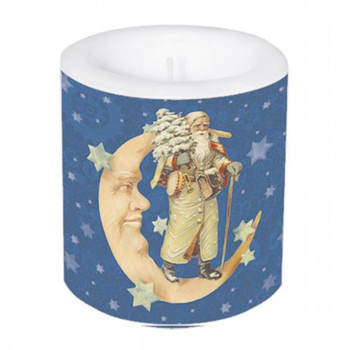 Kleine Kerze Weihnachtsmann im Mond.
