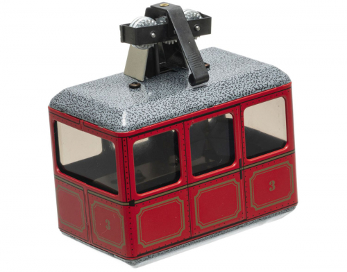 Kleine rote Modell-Seilbahn.