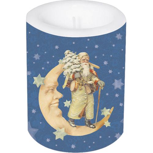 Kerze »Weihnachtsmann im Mond«, groß.