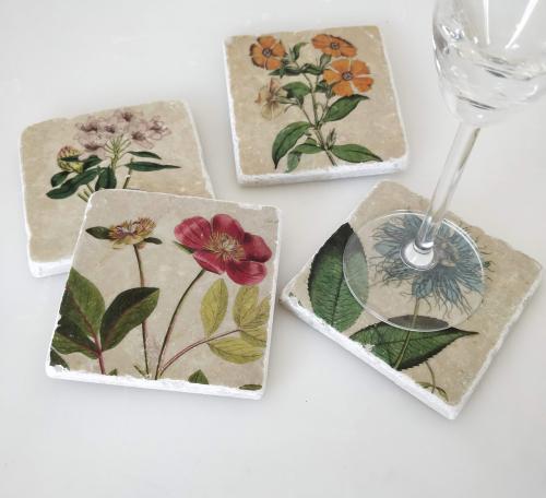 Marmor-Untersetzer »Gartenblumen«, 4er-Set.