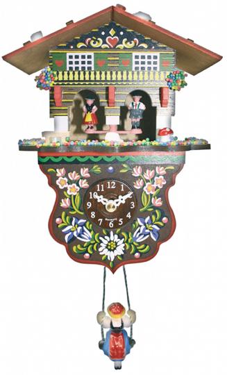 Mini-Schwarzwalduhr mit Wetterhaus & Kuckucksruf.