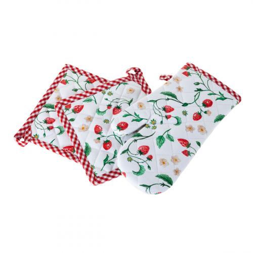 Ofenhandschuh und Topflappen Set »Wilde Erdbeeren«.