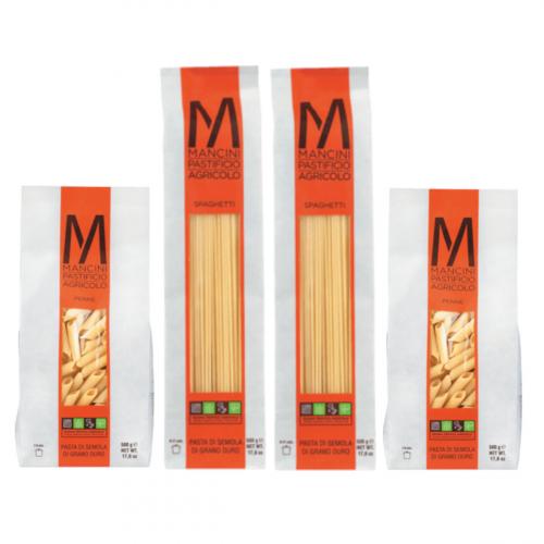 Pasta Mancini. Spaghetti und Penne. 2 kg.