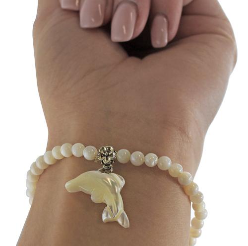Perlmut Armband mit Delfin