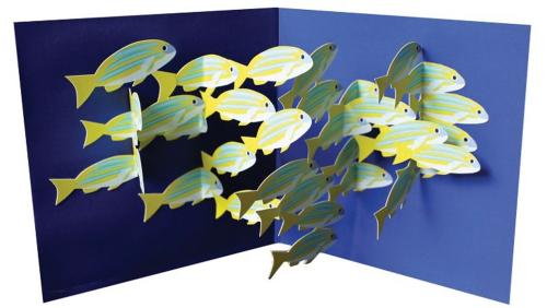 Pop-up-Grußkarte »Fischschwarm«.