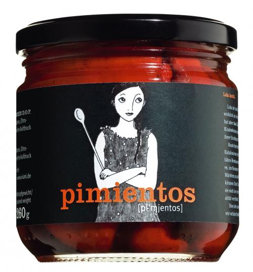 Rote Paprikaschoten, ganz und gegrillt, in Öl »Pimientos del Piquillo DOP«, 290 g.