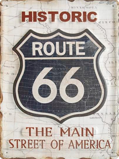 Blechschild »Route 66«.