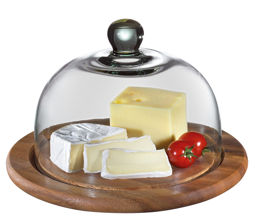 Runde Käseglocke mit Glasdeckel.